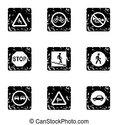 Road sign icons set, grunge style