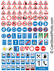 Road sign icons. Traffic signs. Ve