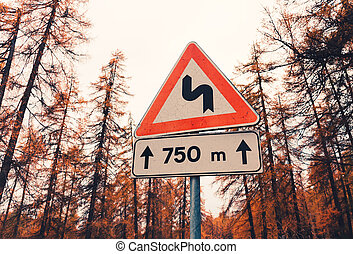 Road sign in autumn forest in the evening with vintage toning