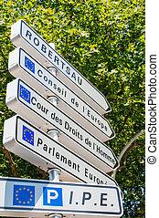 Road sign in European Capital of Strasbourg