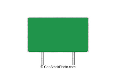 Road Sign in Green Color Isolated On White Background