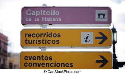 Road sign in Havana - Road sign board in Havana