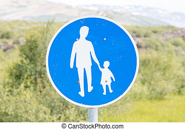 Road sign in Iceland - Pedestrian path