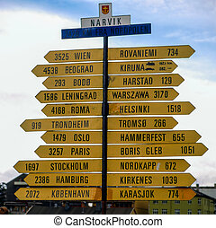 Road sign in Narvik, Norway
