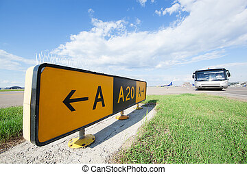 Road sign in the airport