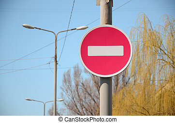 Road sign in the form of a white rectangle in a red circle. No entry