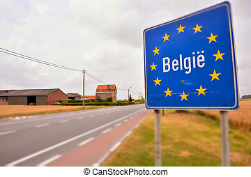 Road sign indicating the border of a European Union country Belgium