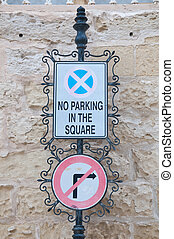 Road sign indicating the prohibited parking