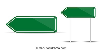 Road Sign Isolated on White Background Blank green arrow traffi