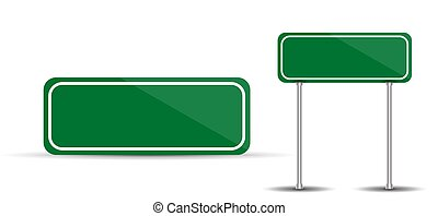 Road Sign Isolated on White Background Blank green traffic. Vec