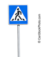Road sign isolated on white background, Pedestrian Crossing