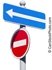 Road sign isolated on white