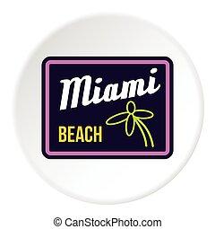 Road sign Miami beach icon, flat style