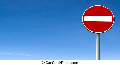 Road sign No Entry - No Entry Sign Board against blue sky