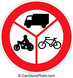 Road sign no entry of marked vehicles. Vector illustration.