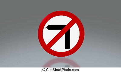 road sign no turn left