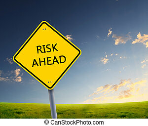 road sign of risk ahead - yellow road sign as a warning of ...
