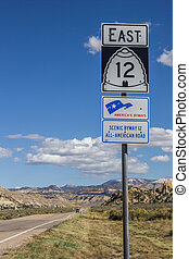 Road sign on scenic byway 12 in Utah