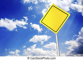 Road sign over the blue sky