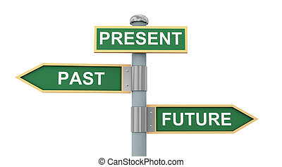 3d illustration of road signs of words past present and future