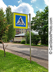 Road sign -pedestrian crossing- on city street