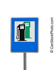road sign petrol station