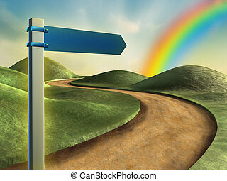 Road sign pointing toward a rainbow in the sky. Digital...