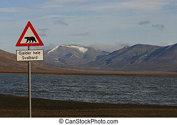 Road sign polar bear warning