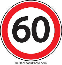 "Road sign ""Restriction of speed"""