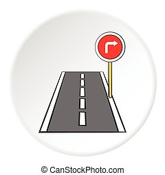 Part of circle road turn icon, cartoon style. Part of ...