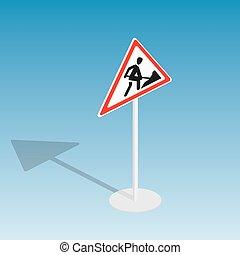 Road sign roadworks isometric vector illustration