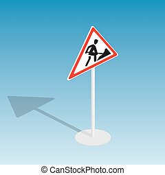 Road sign roadworks isometric vector illustration