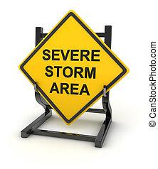 Road sign - severe storm area