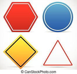 Road Sign Shapes. Circle, Square, Triangle, Hexagon Road...