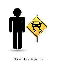 road sign slippery silhouette man