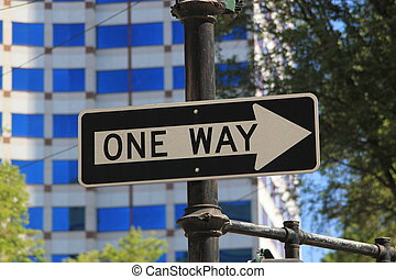 Road sign stating ONE WAY - Black road sign in a city with a...