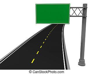 road sign - 3d illustration of asphalt road and blank road...