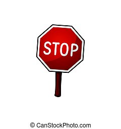 Road sign stop, vector illustration, cartoon illustration