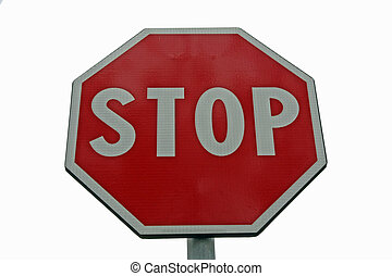 road sign STOP with white background