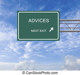 Road sign to advice