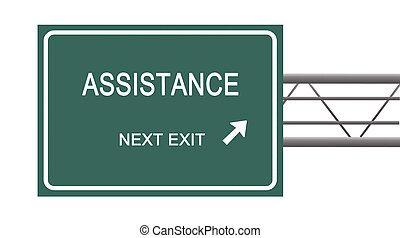 Road sign to assistance