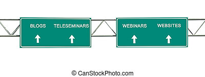 Road sign to blogs,teleseminars,webinars, and websites