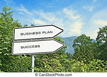Road sign to business plan and success