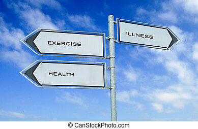 road sign to exercising, health, illiness