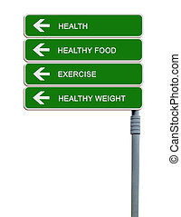 Road sign to exercising,helthy weight,health