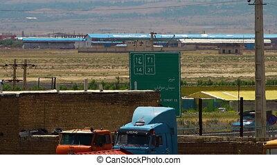 Road sign to freeways in Azerbaijan