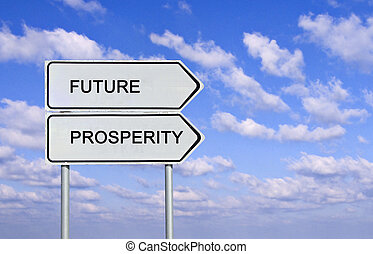 Road sign to future and prosperity
