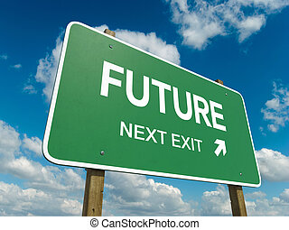 future - Road sign to future with blue sky