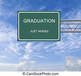 Road sign to graduation