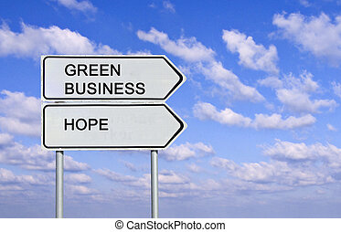 road sign to green business and hope